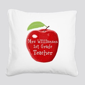 Personalised Teacher Apple Painting Square Canvas