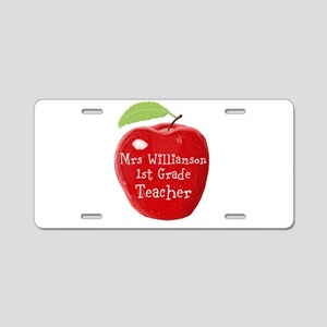 Personalised Teacher Apple Painting Aluminum Licen