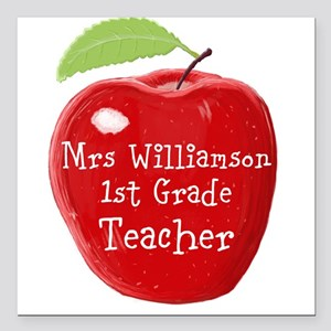 Personalised Teacher Apple Painting Square Car Mag