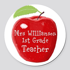 Personalised Teacher Apple Painting Round Car Magn