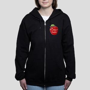 Personalised Teacher Apple Painting Women's Zip Ho
