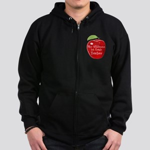 Personalised Teacher Apple Painting Zip Hoody
