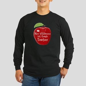 Personalised Teacher Apple Painting Long Sleeve T-