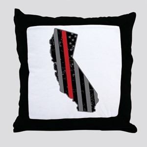 California Firefighter Thin Red Line Throw Pillow