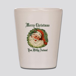 merry christmas ya filthy animal Shot Glass