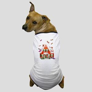 Vintage Retro Gingerbread House Dog T-Shirt