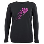 Pink Celtic Hearts Plus Size Long Sleeve Tee