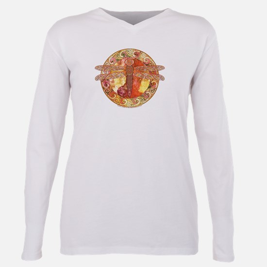 Warm Celtic Dragonfly Plus Size Long Sleeve Tee