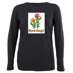Spring Flowers Plus Size Long Sleeve Tee