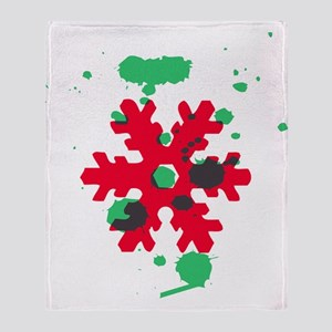 Abstract red and green Snowflake Throw Blanket