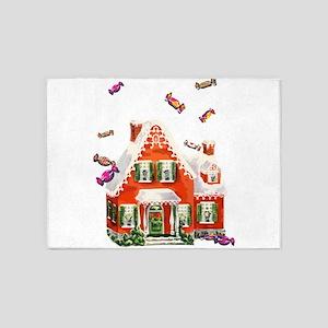Vintage Retro Gingerbread House 5'x7'Area Rug