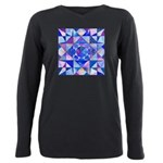 Blue Quilt Watercolor Plus Size Long Sleeve Tee