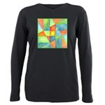 Color Square Abstract One Plus Size Long Sleeve Te