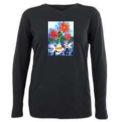 Fish and Flowers Watercolor Plus Size Long Sleeve