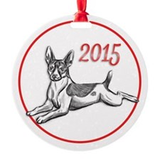 Rat Terrier 2015 Round Ornament