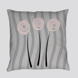 Pastel Pink Watercolor Roses Garde Everyday Pillow
