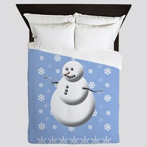 Blue And White Holiday Snowman With Sn Queen Duvet