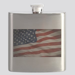 Grunge USA Flag Canvas Print Flask