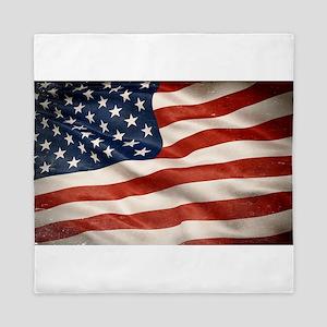 Grunge USA Flag Canvas Print Queen Duvet