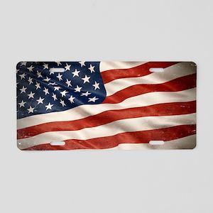 Grunge USA Flag Canvas Prin Aluminum License Plate