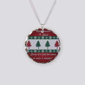 Ugly Sweater Oval Necklace Circle Charm