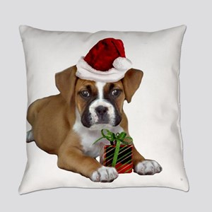 Christmas Boxer puppy Everyday Pillow