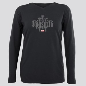 The Punisher Distressed Plus Size Long Sleeve Tee
