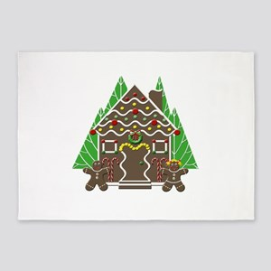 Gingerbread House With Christmas Tr 5'x7'Area Rug