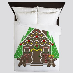 Gingerbread House With Christmas Trees Queen Duvet