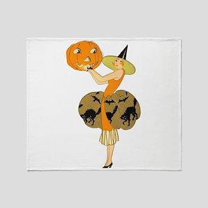 Vintage Halloween Dress with Pumpkin Throw Blanket