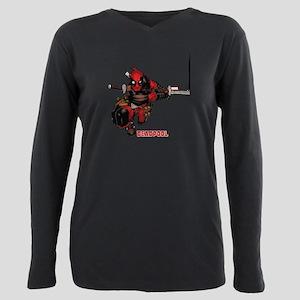 Deadpool Slash Plus Size Long Sleeve Tee
