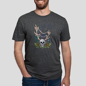 Festive holiday antlered skull T-Shirt