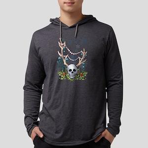 Festive holiday antlered skul Long Sleeve T-Shirt