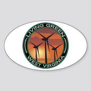 Living Green West Virginia Wind Power Sticker (Ova