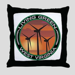 Living Green West Virginia Wind Power Throw Pillow