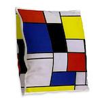 Mondrian-1 Burlap Throw Pillow