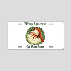 merry christmas ya filthy a Aluminum License Plate