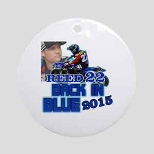Reed Back in Blue Round Ornament