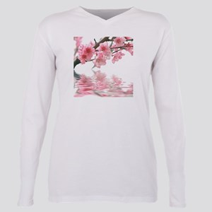 Flowers Water Reflection Plus Size Long Sleeve Tee