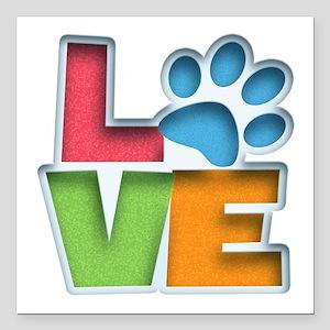"Puppy Love II Square Car Magnet 3"" x 3"""