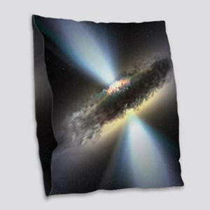 HIDDEN BLACK HOLE Burlap Throw Pillow