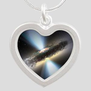 HIDDEN BLACK HOLE Silver Heart Necklace