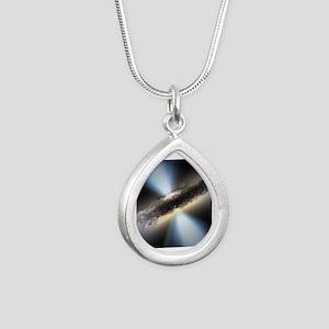 HIDDEN BLACK HOLE Silver Teardrop Necklace