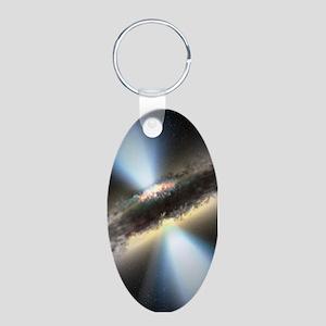HIDDEN BLACK HOLE Aluminum Oval Keychain