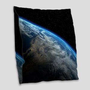 EARTH ORBIT Burlap Throw Pillow