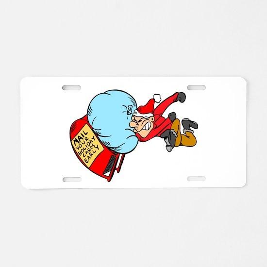 Christmas Post Aluminum License Plate