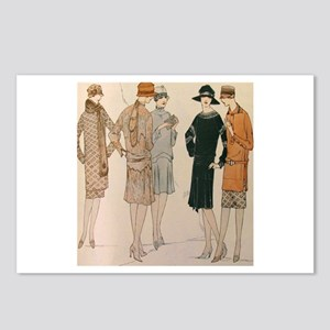 Flapper Autumn Fashion Postcards (Package of 8)
