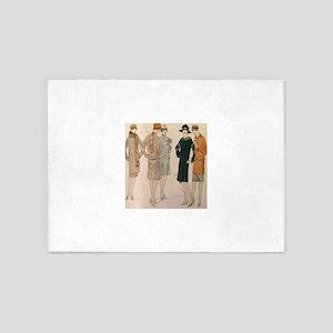 Flapper Autumn Fashion 5'x7'Area Rug