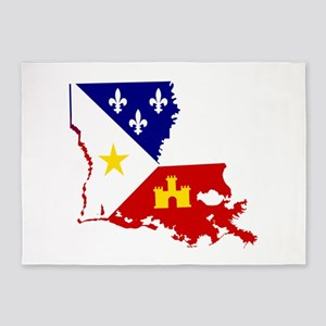 Acadiana State of Louisiana 5'x7'Area Rug