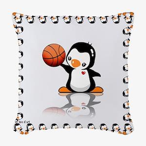Basketball Penguin Woven Throw Pillow